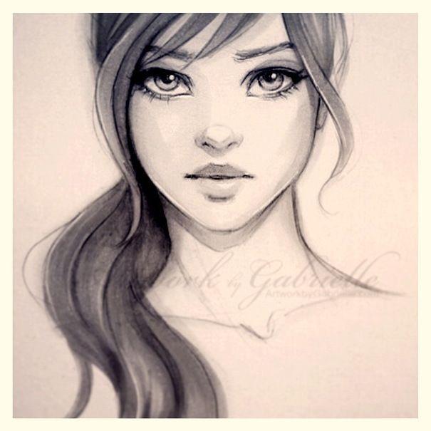 cute drawings of girls with long hair