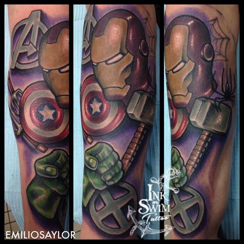 the avengers tattoo inkorswimtattoo emilio saylor pinterest avengers tattoo tattoos and. Black Bedroom Furniture Sets. Home Design Ideas