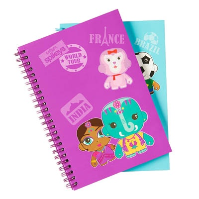 This A5 notebook is covered in the Spikeys 'world tour' graphics and available in two colours. The purple cover includes a flocked fabric detail. Measures 15cm x 21cm