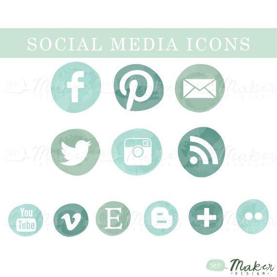 Seafoam Ombre Social Media Icon Set by ShhMakerDesign