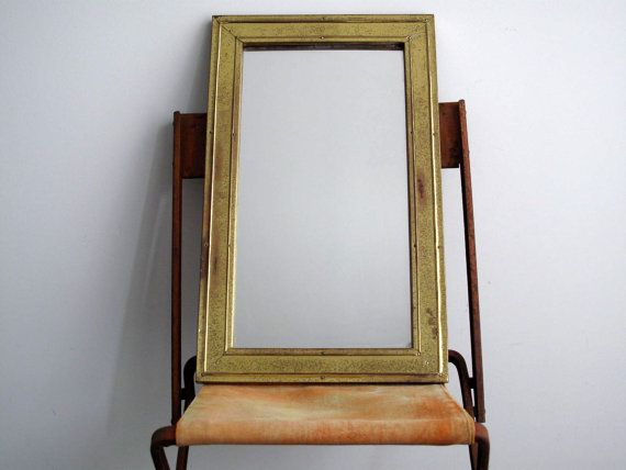 Vintage Gold Wall Mirror With Metal Frame