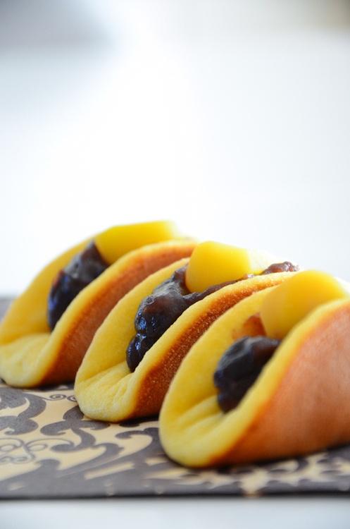 Japanese sweets - Dorayaki with Redbean (Adzuki) and Marron Glace (Candied Chestnuts)