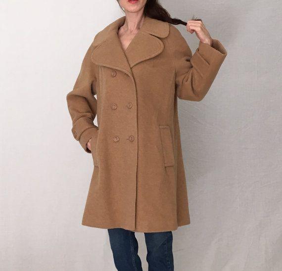 Vintage camel 1960s coat women M/beige wool by MadCrushVintage