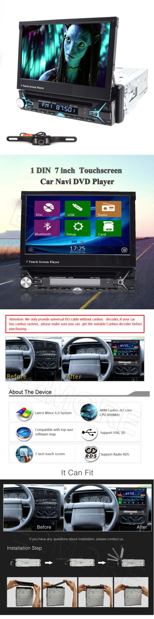 Vehicle Electronics And GPS: Single 1Din 7 Flip Up Car Stereo Dvd Cd Radio Player Gps Touch Screen+Us Camera BUY IT NOW ONLY: $109.99
