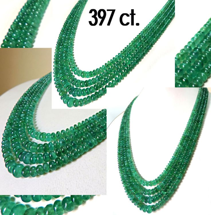 397 Ct. Natural Zambia Green Emerald Beads Necklace Untreated Certified 4 Strand