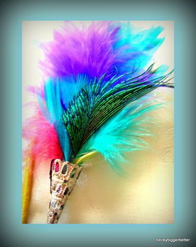 shake your Peacock Tail feather, and look at  this hat pin./ brooch/ stick pin in  Red Pink Gold Plate filigree Shaft