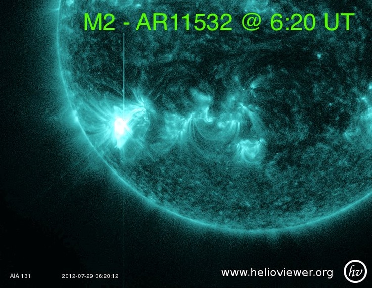 AR11532 produces another moderate solar flare. An M2 peaking at 6:20 UT, 7/29/2012.