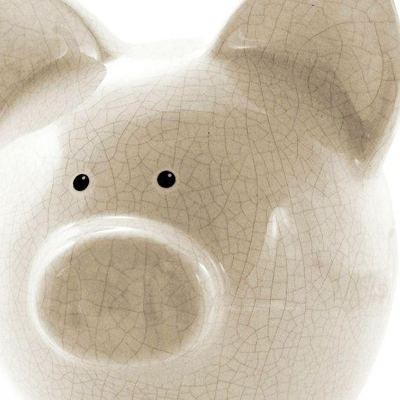 Cream Antique #Crackle Personalized Ceramic #PiggyBank by #ThePigPen, $42.50