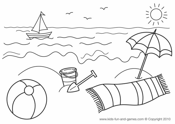 coloring pages and beach - photo#34