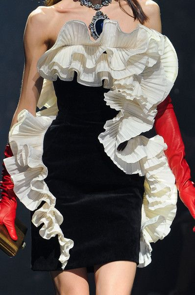 Sculptural Ruffles - black & white dress with rippling ruffle detail; close up couture; fashion details // Lanvin