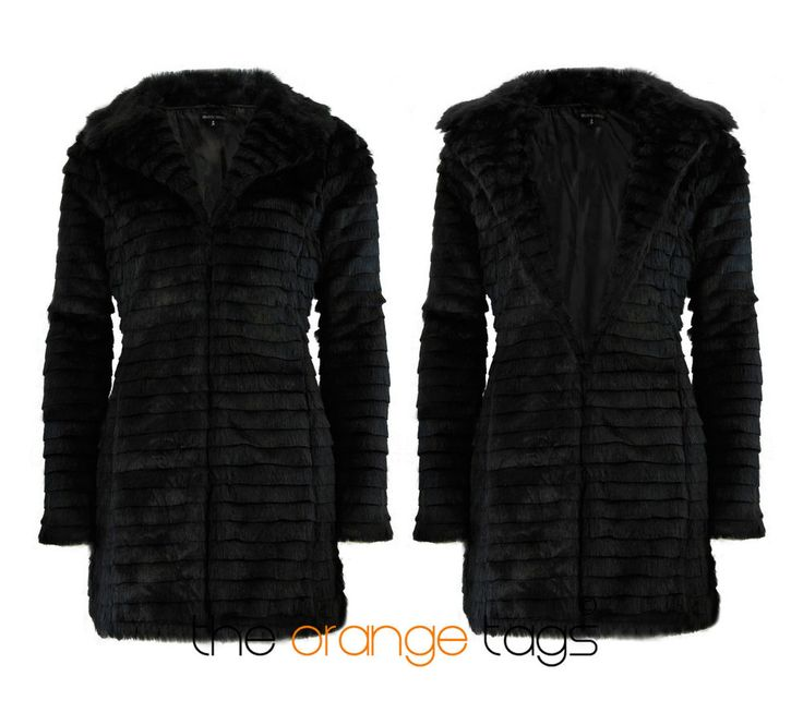 Ladies long black coat ebay
