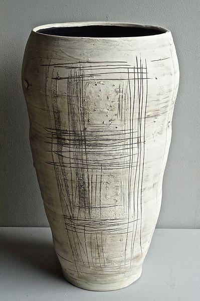 Wheel-thrown stoneware with slips, underglaze and glaze.  Really Big Vase by Lori Katz: Ceramic Vase available at www.artfulhome.com