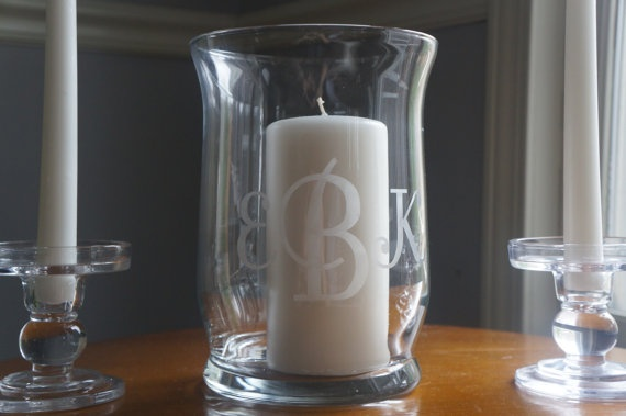 Unity Candle Holder / Hurricane Vase - Monogrammed