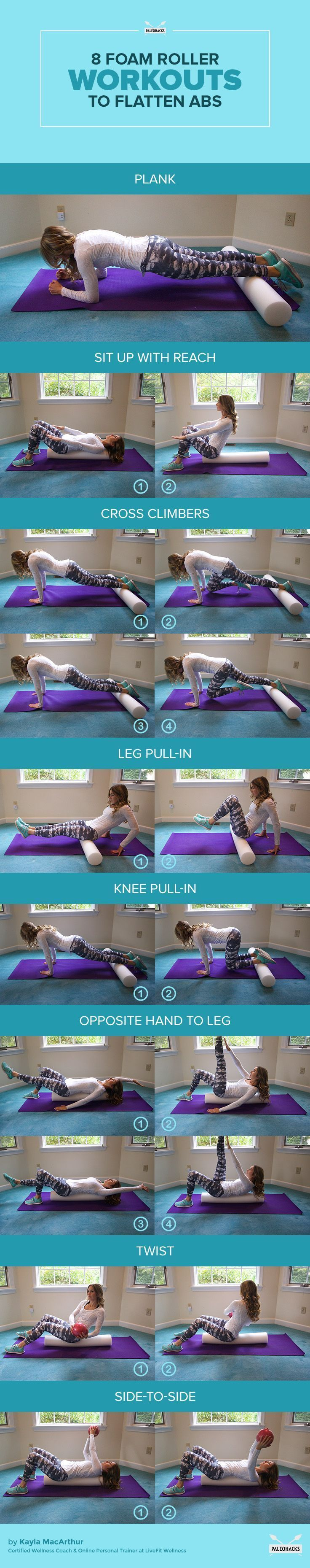 Foam Roller Workouts. Exercises for a stronger core. | Posted By:  AdvancedWeightLossTips.com | #fitness #abworkout