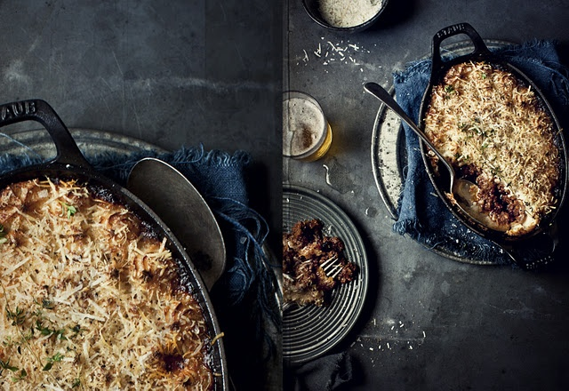 ::shepherd's pie with roasted garlic cheesy mash.