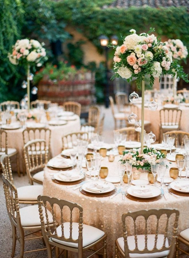 Classic elegant gold and blush wedding decor: http://www.stylemepretty.com/little-black-book-blog/2016/10/17/green-salmon-glamorous-destination-provence-wedding/ Photography: Greg Finck - http://www.gregfinck.com/