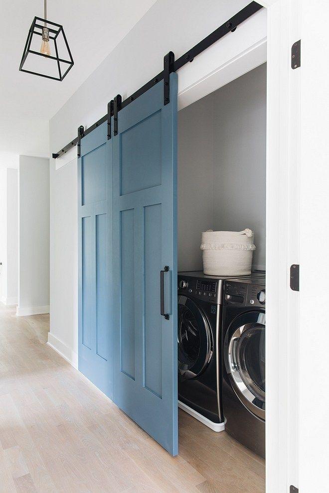 Benjamin Moore 838 Denim Wash Laundry Room Blue Barn Door Paint Color Benjamin Moore 838 Denim Wash Benjamin Mo Laundry Room Doors Laundry Closet Laundry Doors