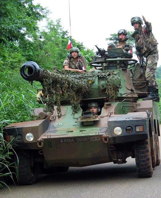 The French armored car Panhard AML in Cote d'Ivoire.