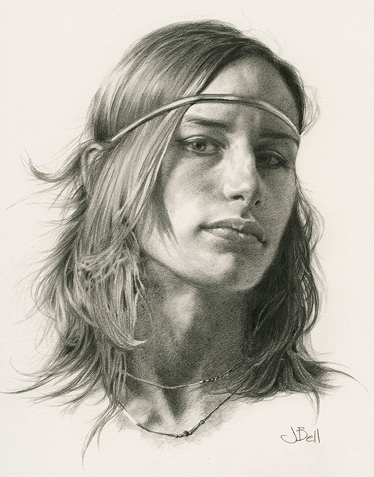 """Abby"" - Julie Bell (b. 1958), graphite on paper {figurative art beautiful female head woman face portrait drawing}. juliebell.com"