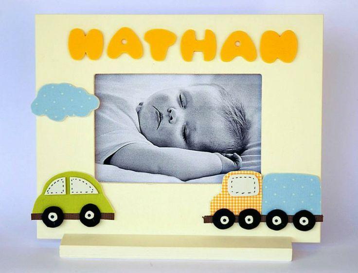 Moldura personalizada para menino / Personalized Photo Frame for baby Boy / Cadre Photo personnalisé pour petit garçon Cadre / Frame / Moldura: 19,5cm x 24,3cm - Photo / Fotografia: 10cm x 15cm