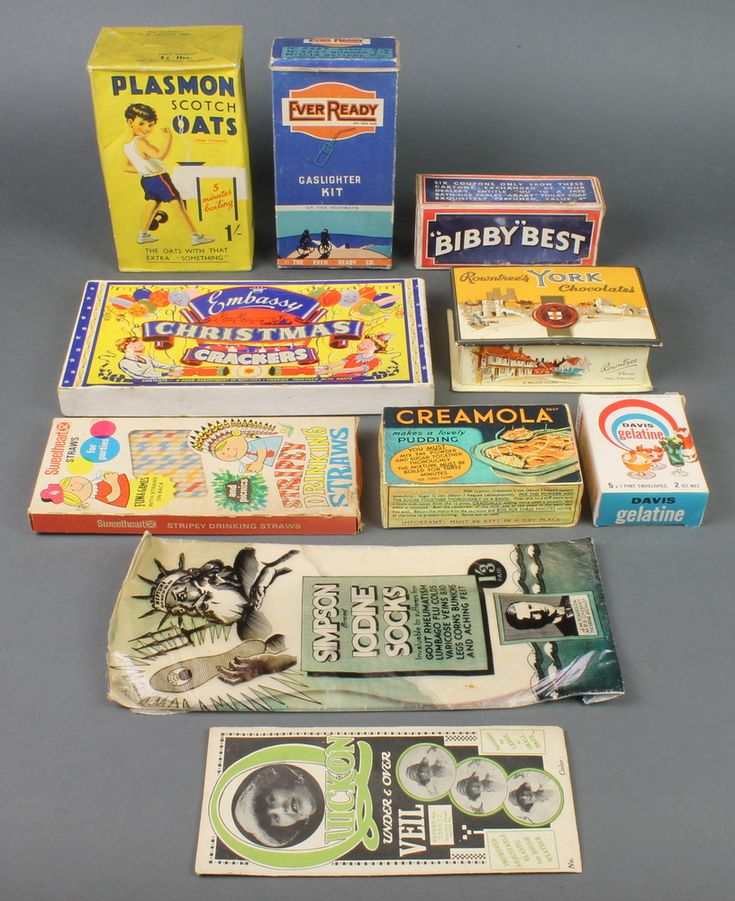 Lot 293, A packet of Plasmon Scotts Oats, an Ever Ready Gas lighter kit box and various other cartons etc, est £30-50