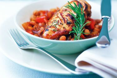 Honey ginger chicken with chickpeas