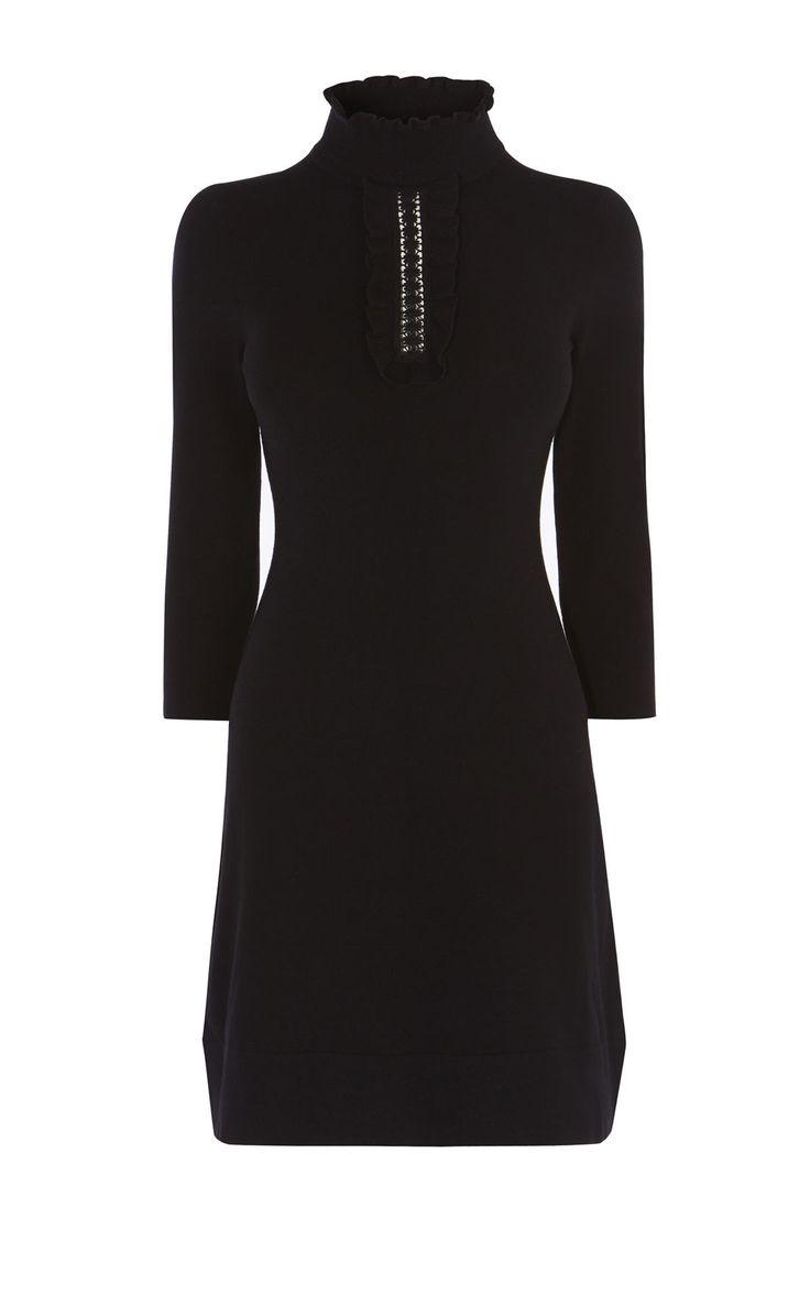 HIGH-NECK KNIT DRESS | Karen Millen