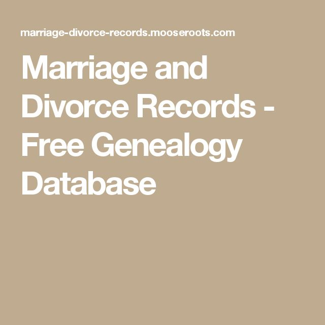Marriage and Divorce Records - Free Genealogy Database