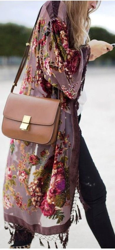 Luxe Bohemian- Brown Floral Kimono with Tassels, Black Pants, Brown Celine Box…
