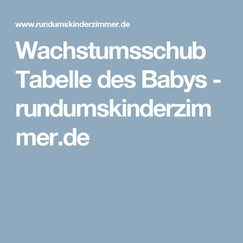 Wachstumsschub Tabelle des Babys - rundumskinderzimmer.de