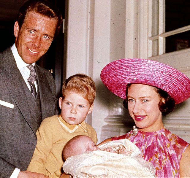 Princess Margaret, poses with her husband Lord Snowdon and their children, Viscount Linley and Lady Sarah Armstrong-Jones in 1964.