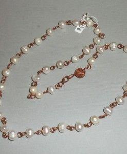 μαργαριταρια δεμενα με χαλκο σφυρηλατο 45εκ - margaritaria pearl with wrought copper 45 cm