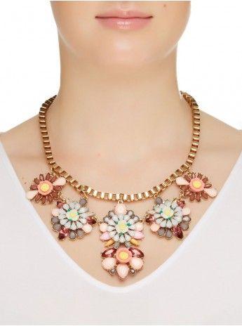 Floral Statement Necklace Multi-colour 160