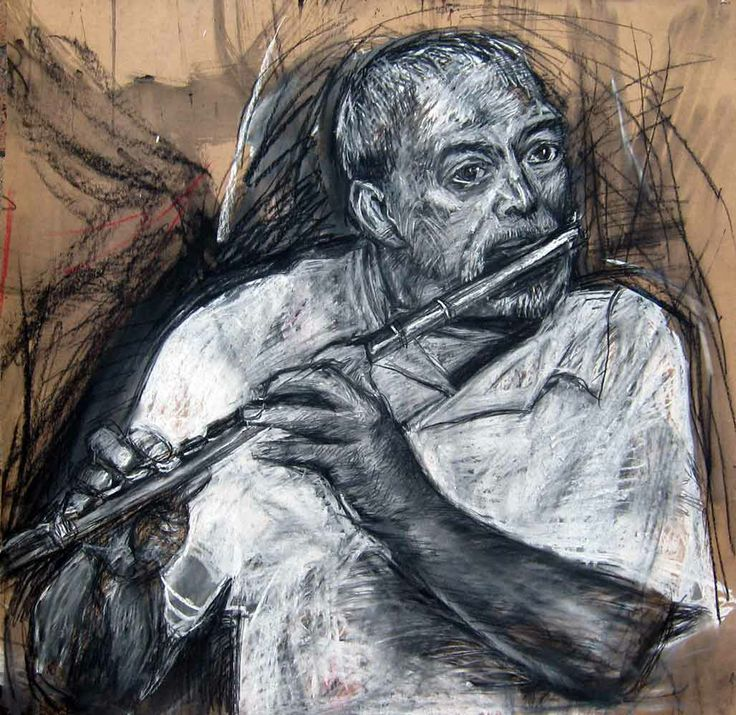 Errol's Flute by Gary Frier. Charcoal and chalk on brown card.