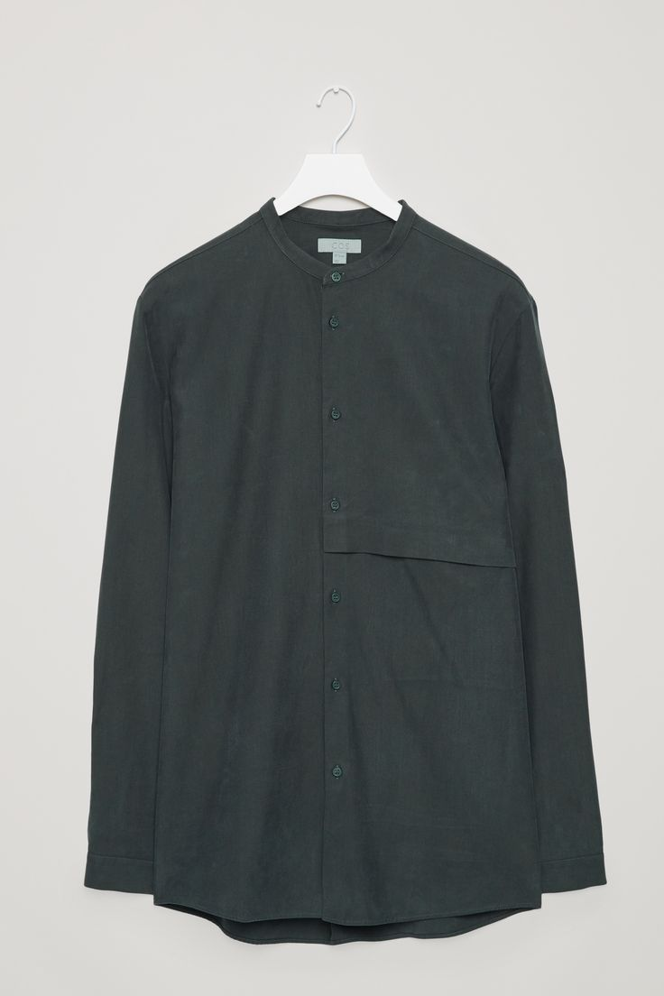 COS | Grandad-collar shirt with hidden pocket