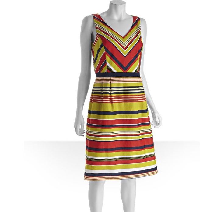 Tahari ASL pear striped cotton v-neck sleeveless dress