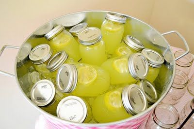 Great party idea lemonade in Mason jars and iced down in a metal tub. cool.