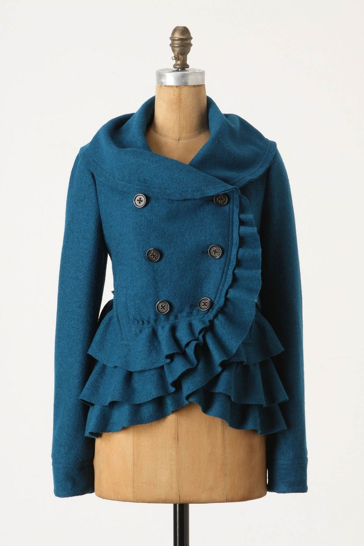 Perfect peacoat for Fall.: Jacket, Ruffle, Fashion, Style, Clothes, Color, Echelons Peacoat, Frilled Echelons, Coats