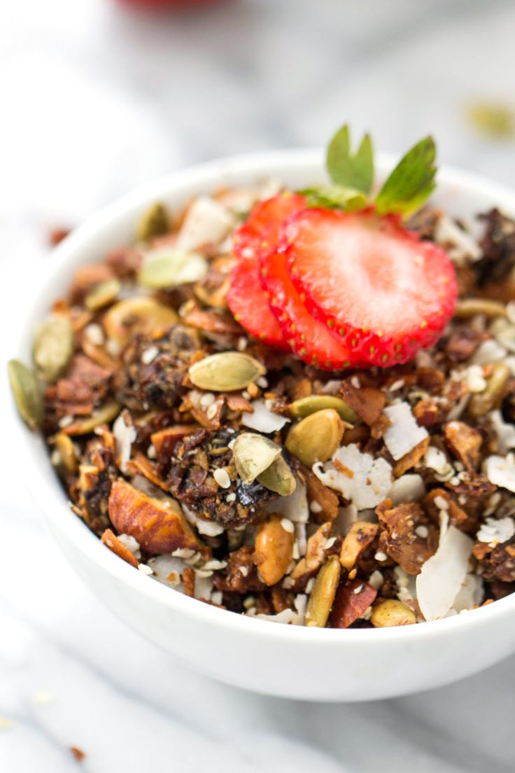 The ULTIMATE grain-free granola! With coconut, almonds, three types of seeds and sweetened naturally from maple syrup and dates!
