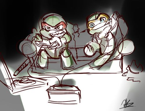 Poor Raph. I can feel his pain. You got a certain reputation to live up to as an older sibiling, and losing at video games can severely undermine that. But I think Mikey's winning _ allthedoodlez