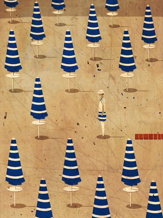 ¤ Ombrelloni. Vintage Italian poster. Fontelina umbrellas..