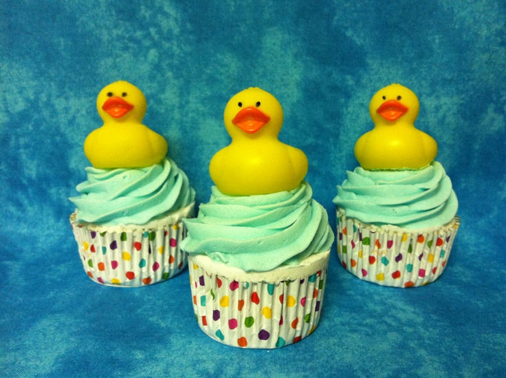 Rubber Ducky cupcake bath bomb   www.etsy.com/shop/SweetBathBakery
