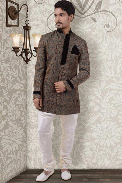 Brown Silk/Jacquard Men's Designer Blazer