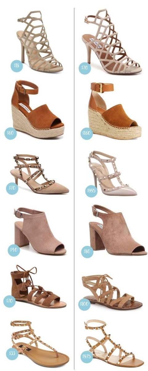 The Look for Less: Spring Shoes 2017; Designer dupes for Valentino Rockstuds, Marc Fisher wedges, gladiator sandals, etc.