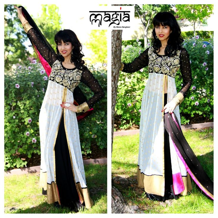 Ravishing as usual in a stunning black and white lehenga with a side slit.