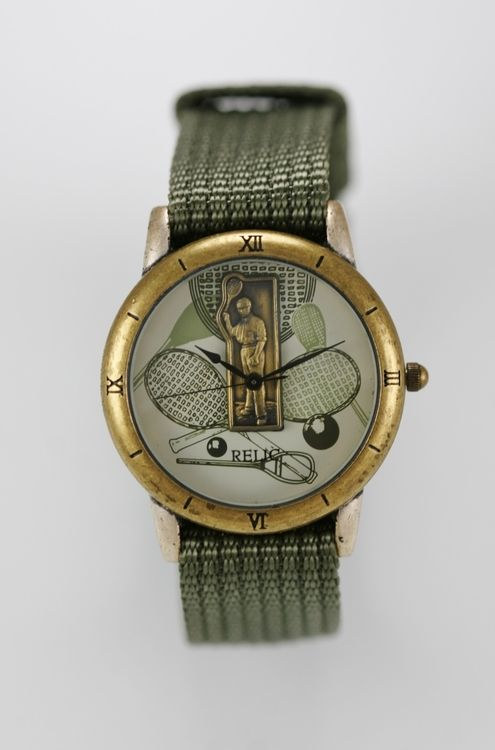 Relic Watch Mens Tennis Nylon Green Stainless Silver Gold Water Resistant Quartz