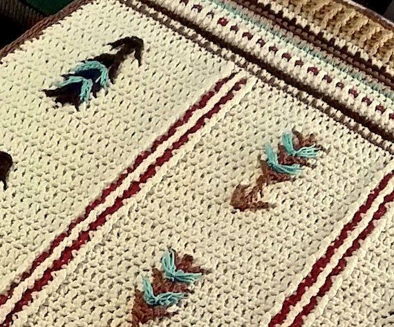 Native American Inspired Crochet Lap Afghan or Baby Blanket. Southwestern Decor Crochet Blanket Throw. Native American Crochet Blanket Throw