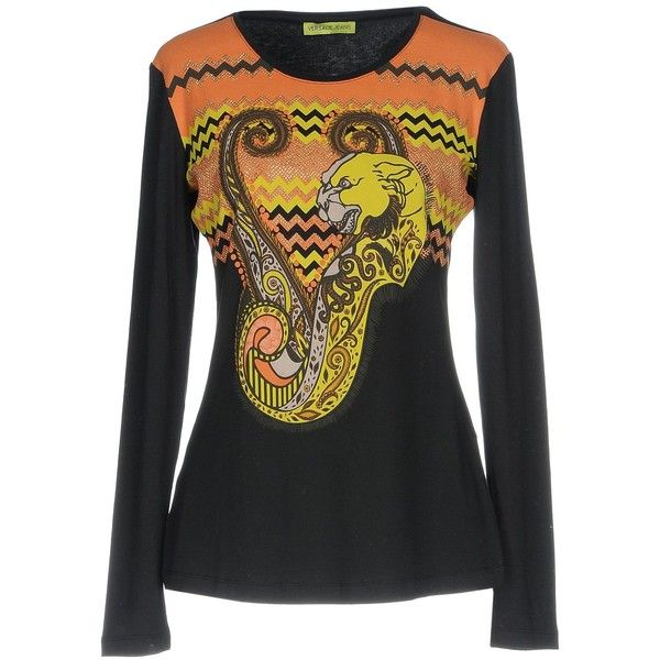 Versace Jeans T-shirt ($175) ❤ liked on Polyvore featuring tops, t-shirts, black, longsleeve t shirts, print tees, long sleeve jersey t shirt, jersey t shirt and versace tee