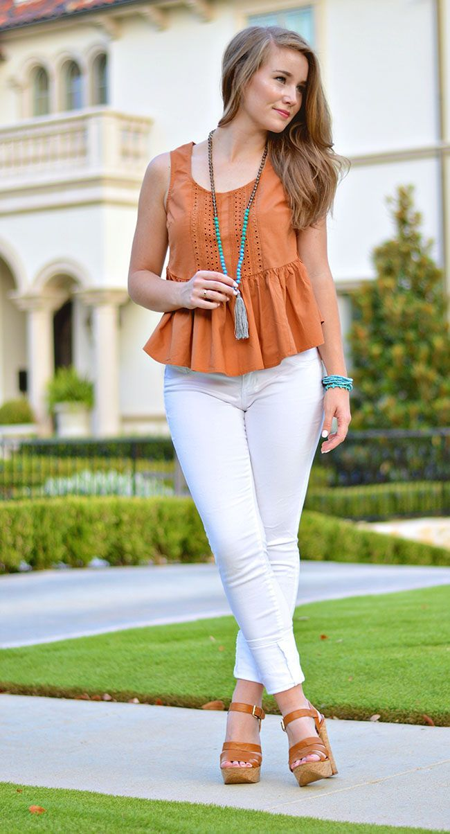 Tassle Necklace + Burnt Orange Peplum Top + White Skinny Jeans | how to style a tassle necklace | how to wear a tassle necklace | summer fashion | summer style | fashion for summer | style ideas for summer | warm weather fashion | fashion tips for summer || a lonestar state of southern
