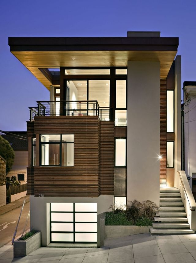Modern vertical three story home at dusk. More pictures: http://www.worldofarchi.com/2013/05/warm-modern-vertical-home-in-san.html